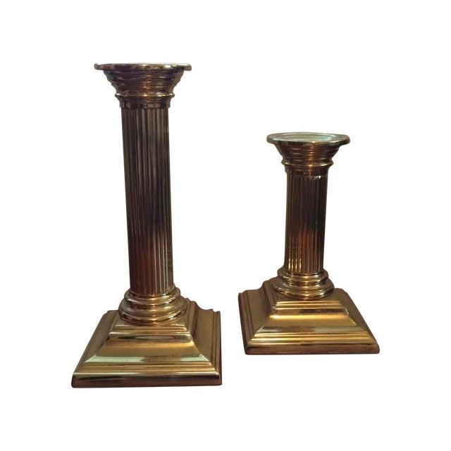 Image of Baldwin Brass Column Candlesticks - APair