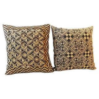 Large African Kuba Pillows - Pair