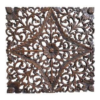 Burmese Carved Teak Panel