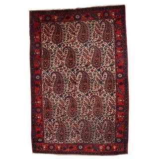 1950s Hand Made Vintage Persian Malayer Rug - 4′2″ × 6′4″