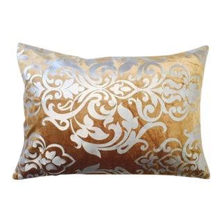 Embossed Silver Velvet Stamped Pillow