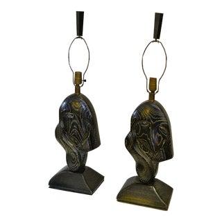 Pair of Yasha Heifetz Cerused Wood Lamps