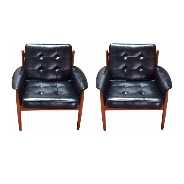 Grete Jalk Teak & Leather Lounge Chairs - Pair - Image 1 of 4