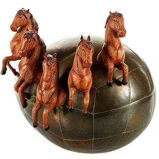 "Sergio Bustamante ""Brass Egg Etching, 5 Horses"""