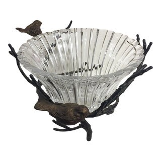 John Richard Crystal Bowl & Bronze Holder