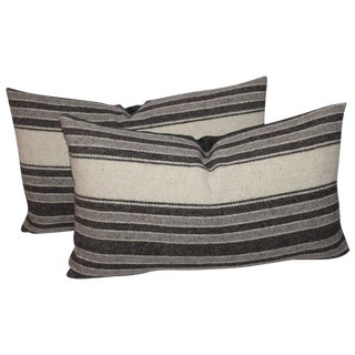 Pair of Handwoven Striped Indian Weaving Bolster Pillows