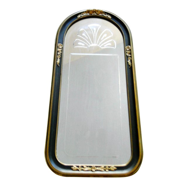 Vintage 1920's Etched Mirror With Gold Black Frame - Image 1 of 6