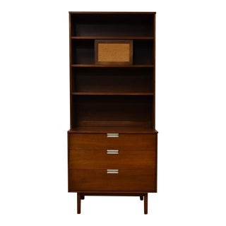 Mid-Century Walnut Three Drawer Bookcase by Bassett
