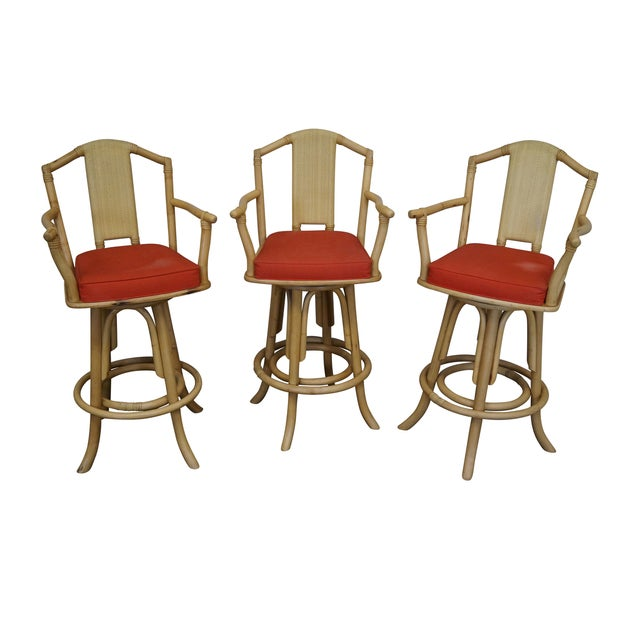 Vintage Bent Bamboo & Rattan Swivel Bar Stools -- Set of 3 - Image 1 of 10