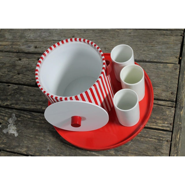 Mid-Century Red & White Ice Bucket, Tumblers and Tray Beverage Set - Image 6 of 11