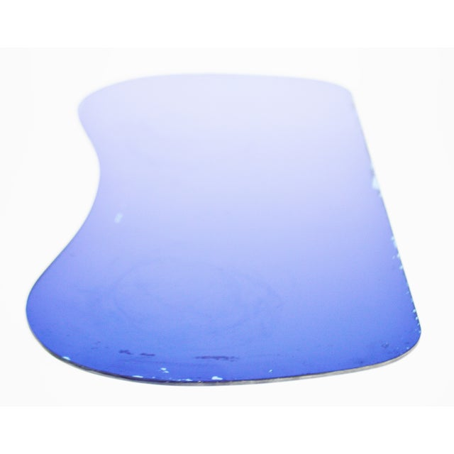 Vintage Art Deco Cobalt Blue Mirrored Glass Table - Image 10 of 11