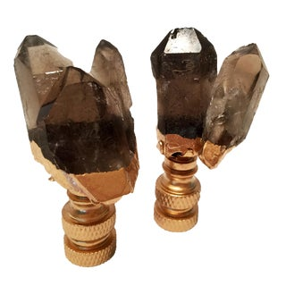 Smoke Quartz Crystal Cluster & Gold Gilt Lamp Finials - A Pair