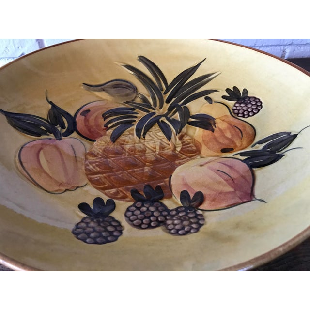 Image of Vintage Pottery Large Shallow Fruit Bowl
