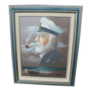 Vintage Oil on Canvas Painting of Sea Captain