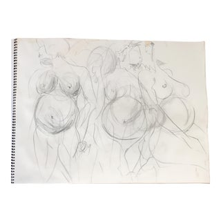 Pregnant Nude in Motion Drawing