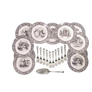 Antique French Transferware Dessert or Salad Service - S/22
