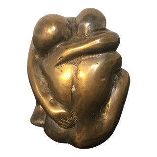 Lovers Embracing Brass Sculpture