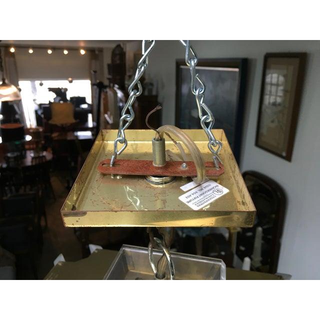 Fredrick Ramond Post Modern Square Brass & Glass Chandelier - Image 10 of 11