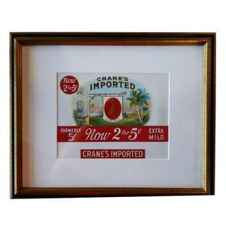 Framed Crane's Imported Cigar Box Label