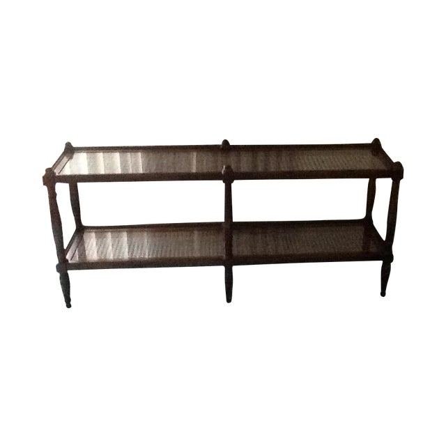 Cane & Glass Coffee Table with Shelf - Image 1 of 10