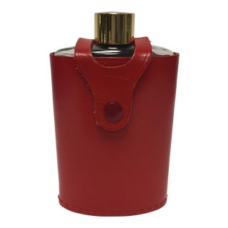 Vintage Flask In Red Leather Case