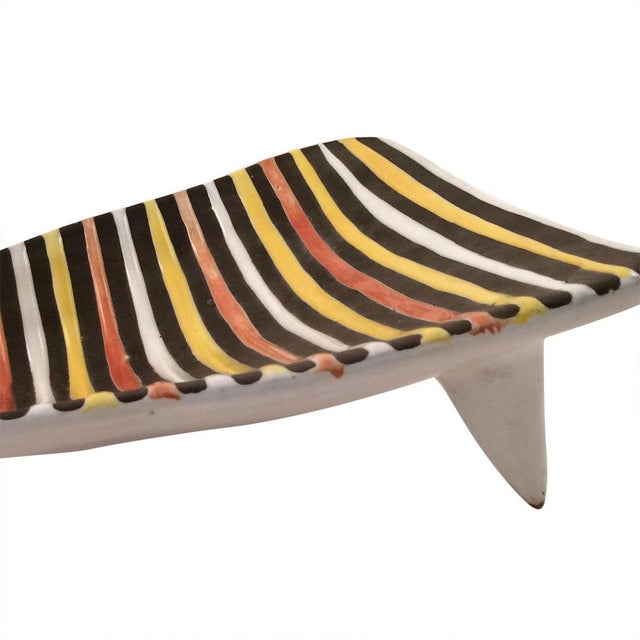 Vintage Italian Striped Ceramic Footed Dish - Image 7 of 7