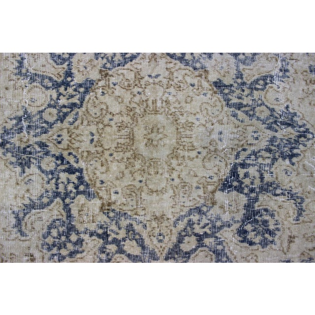 "Vintage Turkish Over-Dyed Cream Rug - 6'7"" x 9'7"" - Image 5 of 8"