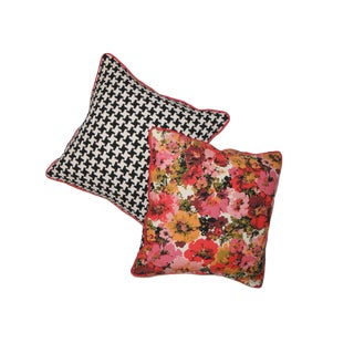 Vintage Floral Black and White Houndstooth Pillow Case