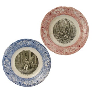 Antique French Joan of Arc Transferware Plates - A Pair