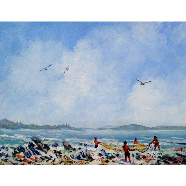 Simon Michael Coastal Net Fishing Painting - Image 1 of 2