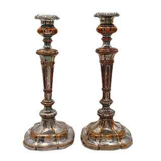 Antique Sheffield Candlesticks - Pair