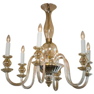 Champagne Colored Blown Murano Glass Chandelier with Six Arms, circa 1950