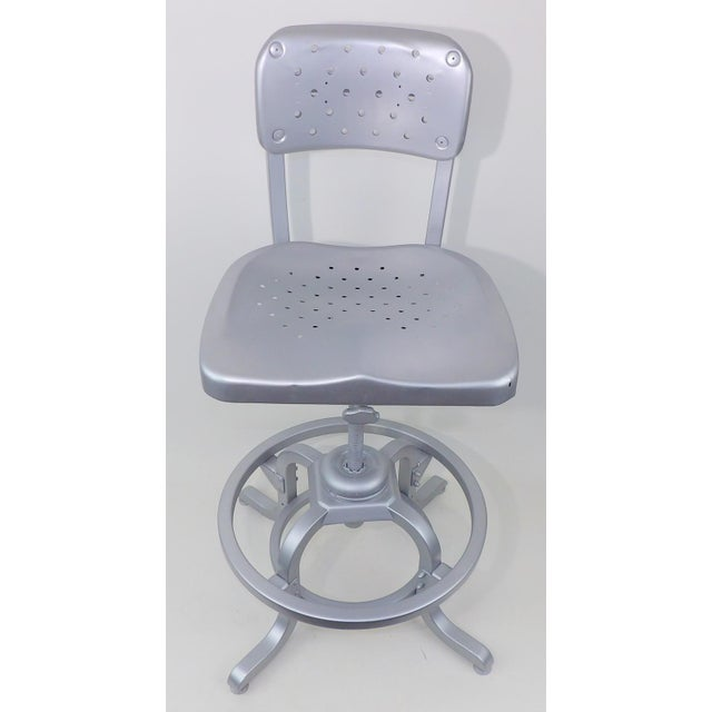 Good Form Mid-Century Modern Industrial Aluminum Drafting Swivel Stool Chair - Image 11 of 11