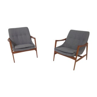 Gray Chenille Mid-Century Lounge Chairs - a Pair