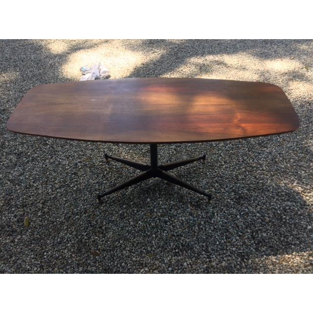 Vintage Mid-Century Modern Steel Based Walnut Coffee Table - Image 3 of 9