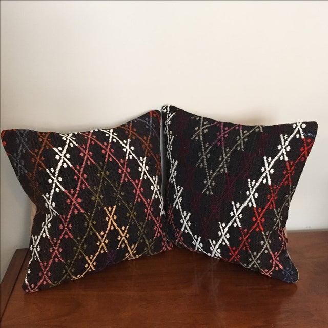 Vintage Kilim Throw Pillows - Pair - Image 2 of 6