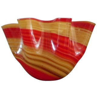 Murano Red & Yellow Striped Ribbon Bowl