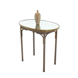 Solid Brass Mirror Top Oval Hall or Side Table