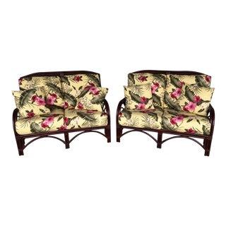 Braxton Culler Floral Rattan Loveseats - A Pair