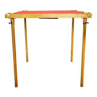French Brass Game Table with Red Cloth