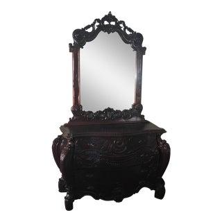 French Rococco Style Dresser & Mirror