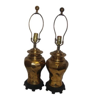 Brass Lamps With Wood Bases - A Pair