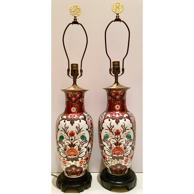 Hand-Painted Porcelain Imari Vase Table Lamps - A Pair - Image 2 of 10