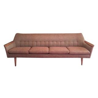 Mid-Century Modern Teak Brown Sofa