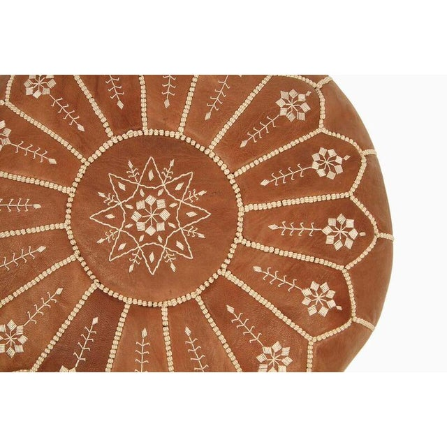 Moroccan Leather Pouf in Chestnut Starburst (Stuffed) - Image 3 of 4