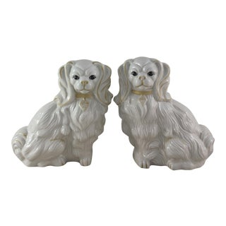 Staffordshire Style Pekingese Figures - A Pair
