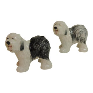 Ceramic English Sheep Dog Salt & Pepper Shakers - A Pair