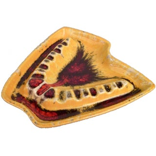 Yellow & Red USA Pottery Ashtray Catchall