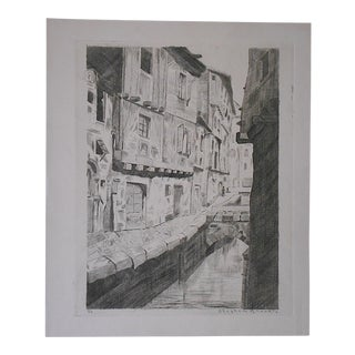 Original Pencil Signed Ltd. Ed. Antique Engraving-Venice-By Stephen Brooks