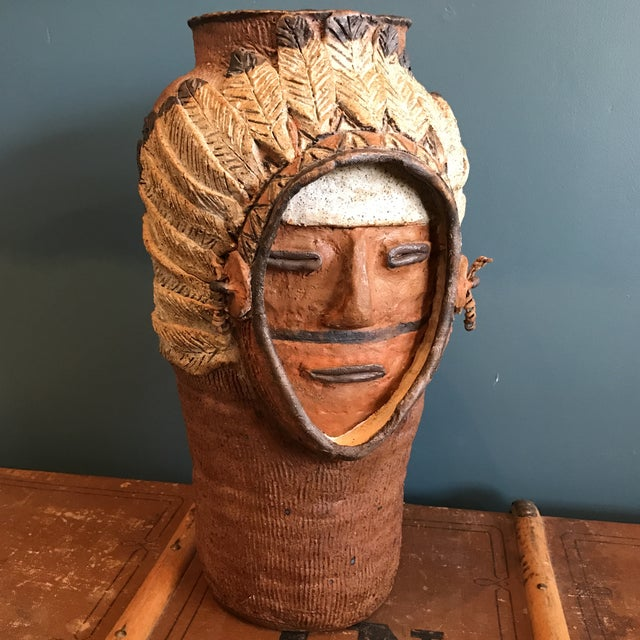 Indian Head Ceramic Vase - Image 2 of 9